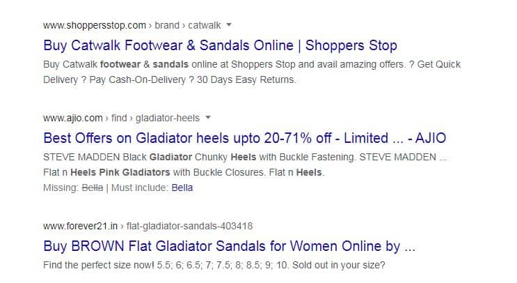 search results of gladiator sandals