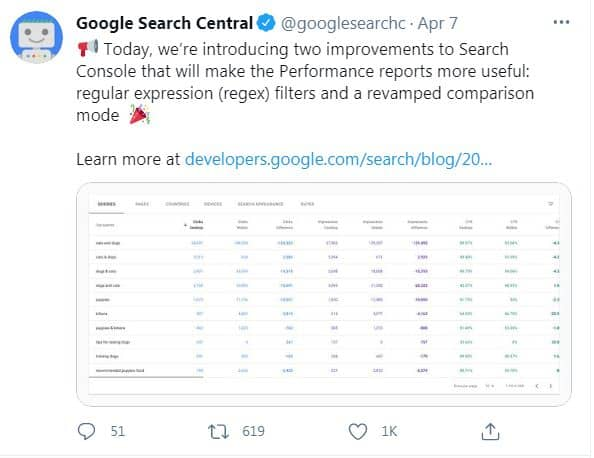 Google announced on twitter launching regex